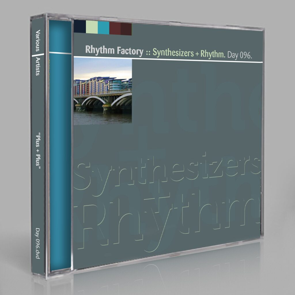 """Rhythm Factory """"Synthesizers + Rhythm"""" (Jupiter Jenkins, Eric Scott/Day For Night, and Peter Moraites) Music Songs White Labels Scores Composition Day 096.cd / download"""
