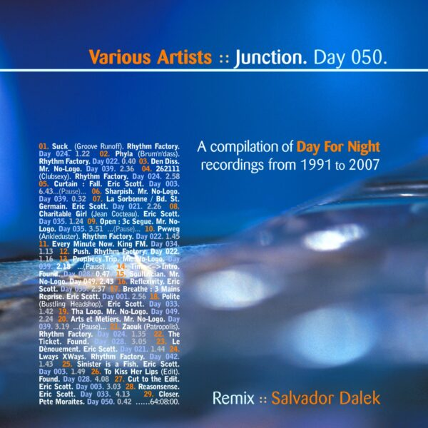 """Various Artists (Day For Night: Eric Scott, Mr. No-Logo, Rhythm Factory, Pete Moraites, Salvador Dalek, Found). """"Junction."""" Day 050.cd / download"""